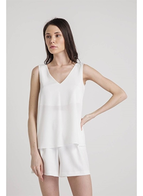 Rue Kolsuz V Yaka Bluz Beyaz